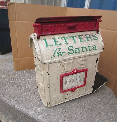 Antique 1890's US Postal MAIL Letter Box Cast Iron Cincinnati OH Christmas Santa