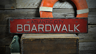 Custom Atlantic City Boardwalk - Rustic Handmade Vintage Wooden Sign ENS1001198