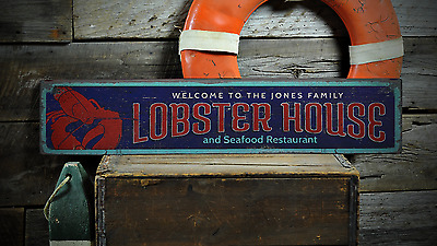 Custom Lobster House Family Seafood - Handmade Vintage Wooden Sign ENS1001199