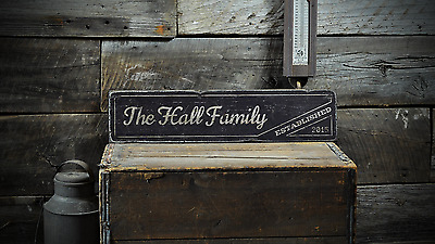 Family Wedding Established Date - Rustic Handmade Vintage Wooden Sign ENS1001300