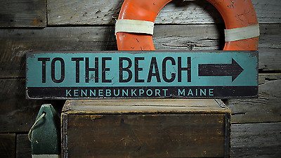 Custom To The Beach City State Arrow - Handmade Vintage Wooden Sign ENS1001197