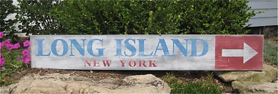 Long Island, New York Directional Wood - Handmade Vintage Wooden Sign WWS000187