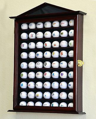 63 Golf Ball Designer Display Case Cabinet Wall Rack Holder w/98% UV Lockable
