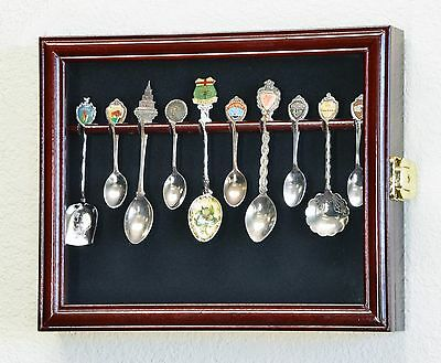 10 Spoon Display Case Cabinet Wall Mount Rack Holder 98% UV Protection Lockable
