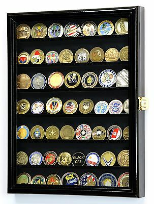 Navy Air Force Challenge Coin Display Case Holder Wall Rack - Lockable 98% UV