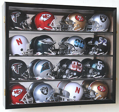 NFL MLB 16 Mini Football Helmet Display Case Cabinet Wall Rack Box - Lockable