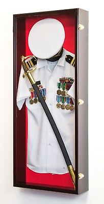 Military Shadow Box Uniform Sword Gun Pin Display Case - Lockable