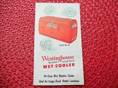 Vtg WE-10 Westinghouse Coca Cola GIANT Wet Cooler Fold Out Brochure 6 13/16 x 8