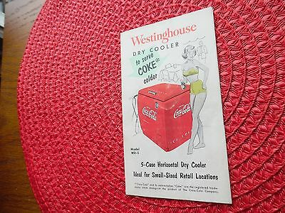 Vtg WD-5 Westinghouse Coca Cola Master Dry Cooler Fold Out Brochure 8 x 10