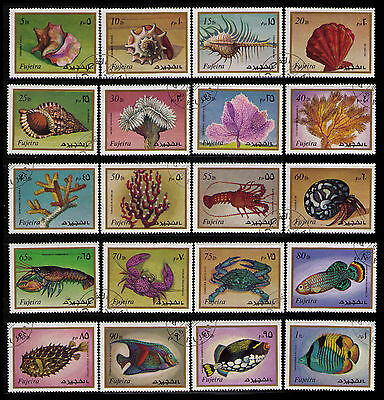 Fujeira 1972 Marine Life Completete Set Of 20 Diff Used Topicals (U127)