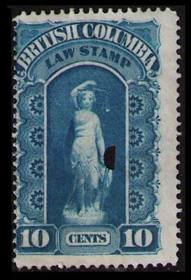 British Columbia Revenue 1879 #bcl1 Fine Used Law Stamp, Cat $4, Rarely Offered
