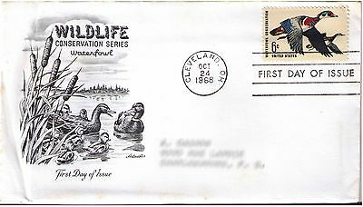 "Us Scott #1362 First Day Cover ""cleveland, Oct 24 1968"" Waterfowl Conservation"