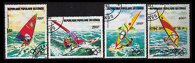 Congo 1983 Scott #c305-308 Olympic 1984 Los Angeles Wind Surfing (U144)