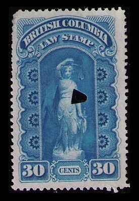 BRITISH COLUMBIA REVENUE 1879 30c #BCL2 USED LAW STAMP, CAT $9, SEE SCAN (1029)
