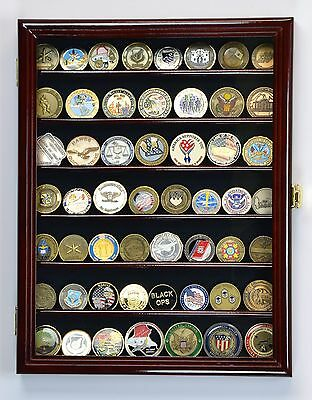 49-56 Military Challenge Coin Display Case Cabinet Holder Wall Rack USA -Locks