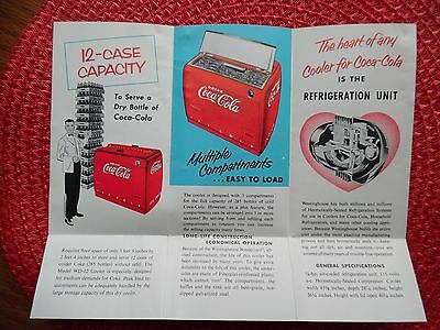 Vtg WD-12 Westinghouse Coca Cola Master Dry Cooler Fold Out Brochure 8 x 10