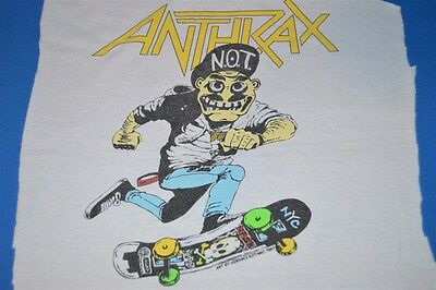 vtg 80s ANTHRAX NOT MAN NYC SKATEBOARD SKATE METAL BACK PATCH  T-SHIRT CUTOUT