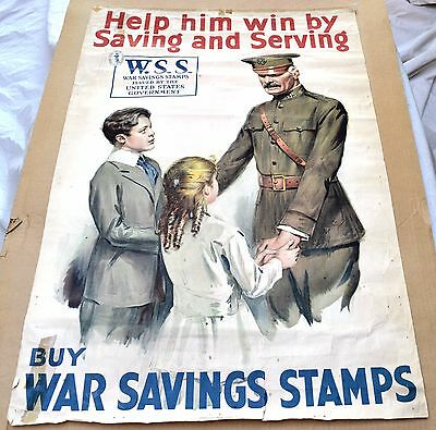1918 World War I War Savings Stamps Lithographic Poster, Help Him Win
