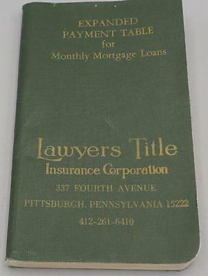 Vintage Payment Table for Monthly Mortgage Loans 1969 Pittsburgh Pennsylvania