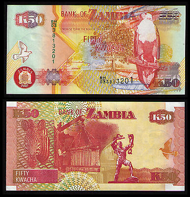 Zambia 2007, 50 Kwacha  Banknote Crisp Uncirculated Paper Money Kp Cat #371