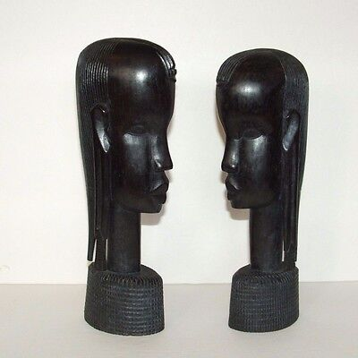 "Vintage Hand Carved Wooden African Heads Art Sculture Bookends 10"" Ebony Wood"