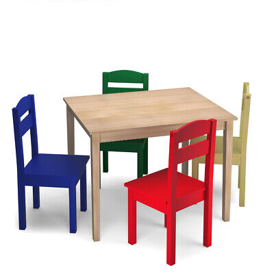 Kids 5 Piece Table Chair Set Pine Wood Multicolor Children Play Room Furniture