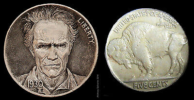 Unique Custom Hobo nickel coin Clint Eastwood by top artist A. Saburov signed