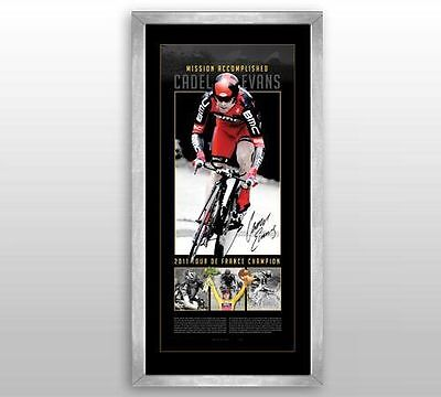 Cadel Evans Signed And Framed Tour De France Mission Accomplished Limited Print