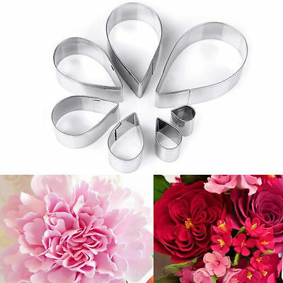 7Pcs Stainless Steel Water Drop Rose Cake Fondant Mold Cookie Biscuit Cutter Set