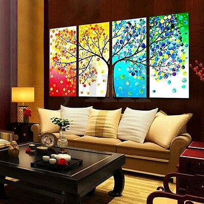 4X Unframed Four Seasons Tree Canvas Print Painting Oil Picture Home Wall Decor