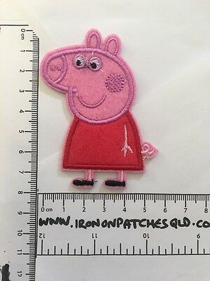 Iron on Patch Peppa Pig Pink Girl 8cm x 6cm Sew Applique Embroidered Cartoon
