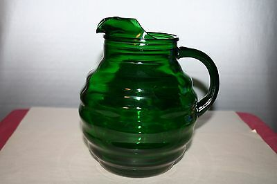 Emerald Green Glass Beehive Pitcher with Ice Lip