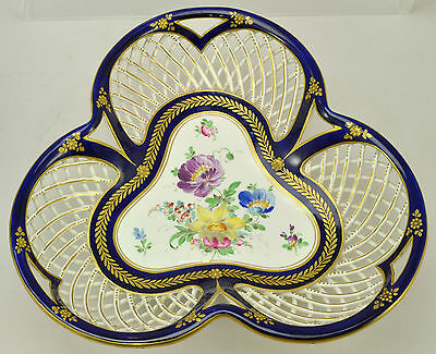 Antique Crown Dresden Flowers Porcelain Reticulated Basket Late 19th Century