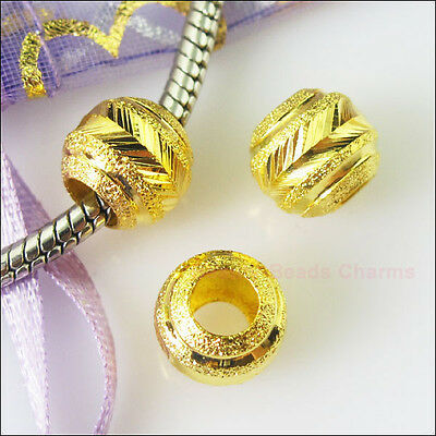 5Pcs Gold Plated Round Stardust 5mm Hole Beads fit European Charms Bracelet 10mm