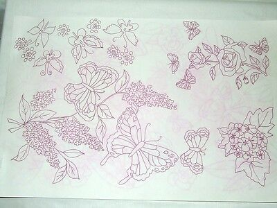 Butterfly~Flower Transfer Pattern~Iron On~Embroider~Tole~Paint~Tri-Chem~Trichem