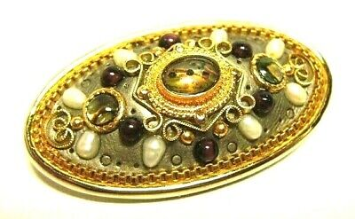 Michal Golan Brooch Pendant - Amethyst Freshwater Pearls & Abalone - Signed Pin