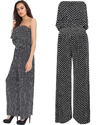 Womens Sleeveles Frill Front Polka Dot Top Jumpsuit Ladies Plus Size Harem Dress