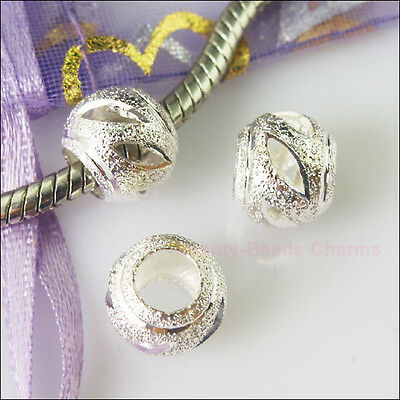 5PcsSilver Plated Round Stardust 5mm Hole Beads fit European Charm Bracelet 10mm