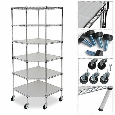 Heavy Duty 6-Tier Wire Shelving Rack Corner Unit Storage Adjustable Steel Shelf