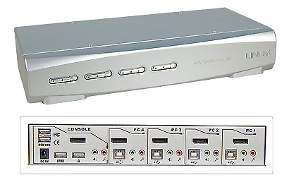 Lindy KVM Switch Pro USB 2.0 Audio DisplayPort, 4 Port, Mac & PC, mit Kabeln