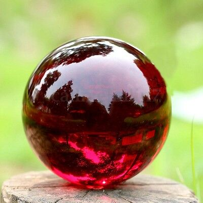 70mm Stand Crystal Ball Asian Red Natural Quartz Magic Healing Stress Meditate