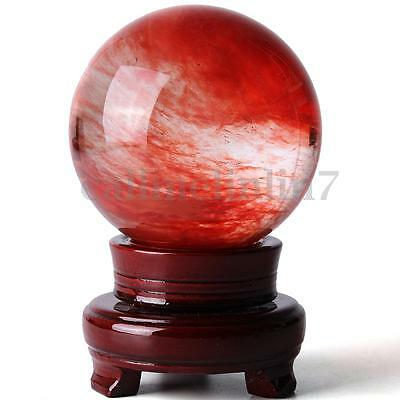 100mm Red Citrine Magic Quartz Crystal Sphere Healing Ball Gemstone Stone +Stand