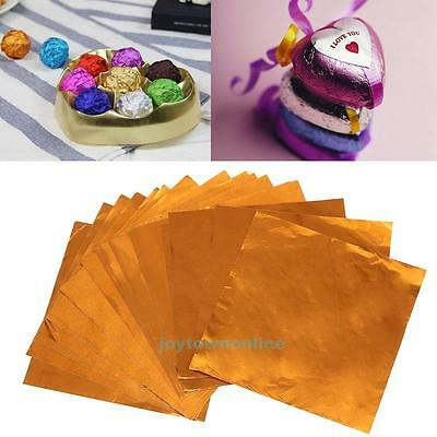 100pcs Foil Candy Package Paper Chocolate Lolly Gift Wrappers DIY Square 10X10cm