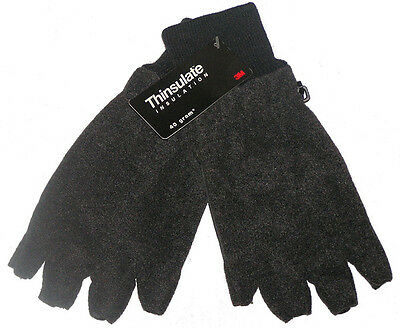 Brand New Mens Thinsulate Insulation Grey Polar Fleece Fingerless Gloves