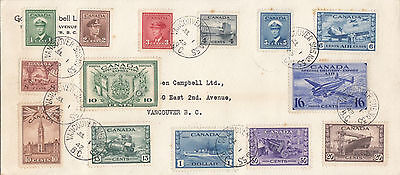 CANADA : 1942 War Effort 1c-$1 set( original values)+ Sp Dely on plain FDC