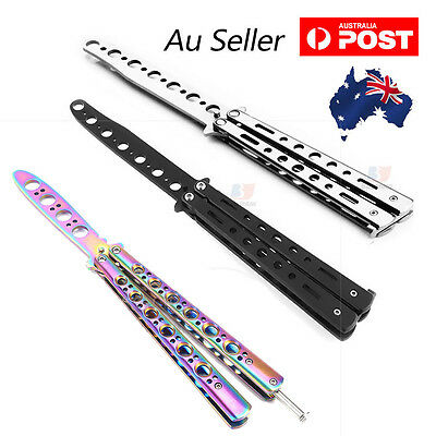 Folding Butterfly Knife Training Balisong Dull Blade Practice Trainer Stainless