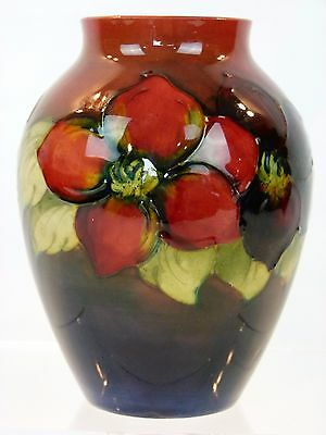 A Truly Stunning Moorcroft Flambe Clematis Pattern Vase. Early Example.