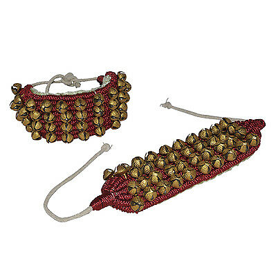 AsiaCraft Four Line Ankle Bells Ghungroo (Dancing Bells) with Maroon Pads
