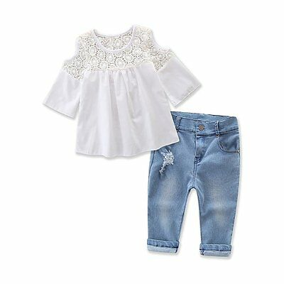 2PCS Toddler Kids Baby Girls Outfits T-shirt Tops Dress+Jeans Pants Clothes Sets