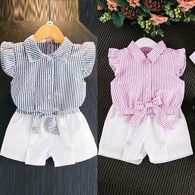 2PCS Toddler Kids Baby Girls Summer T-shirt Tops+Pants Shorts Outfit Clothes Set